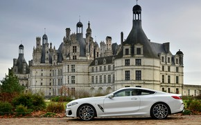 Picture white, coupe, BMW, 2018, in profile, 8-Series, Eight, G15, 840d xDrive M Sport