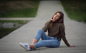 Wallpaper road, look, Girl, jeans, sitting, Robert Chrenka, Bara