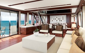 Picture interior, yacht, salon, Motor Yacht, Main saloon and dining area