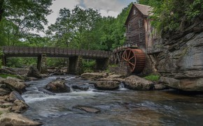 Picture house, river, mill, a water mill