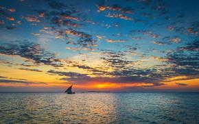 Picture the sky, clouds, sunset, the ocean, boat, sky, ocean, sunset, clouds, boat, Zanzibar, Jeffrey C. …