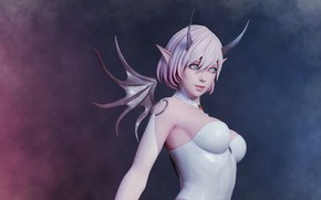 Picture girl, wings, horns, succubus, succubus