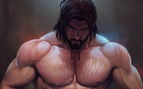 Picture look, hair, art, male, beard, muscle
