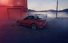 Picture red, shore, the building, BMW, Parking, Roadster, pond, BMW Z4, First Edition, M40i, Z4, 2019, …