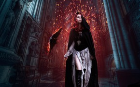 Picture girl, fire, crow, photoart