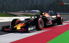 Picture speed, track, turn, tribune, racing car, F1 2019, Red Bull RB15