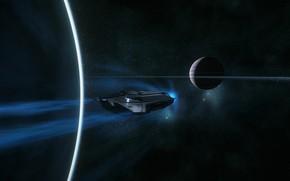 Picture space, planet, spaceship, Star Citizen, C8 Pisces