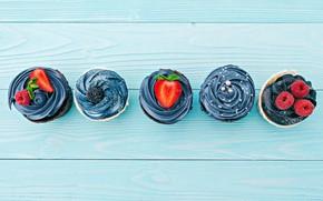 Picture berries, cream, cupcakes