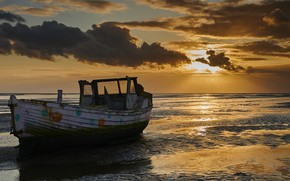 Picture sea, sunset, shore, boat, stranded