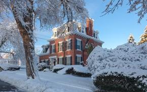 Picture winter, snow, nature, house, photo, mansion, New Jersey, Antonina Janowska
