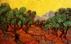 Picture Vincent van Gogh, mountains, the sun, trees, with Yellow Sky, and Sun, Olive Trees