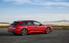 Picture asphalt, red, Audi, Parking, side view, universal, 2019, A6 Avant, S6 Before