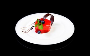 Picture berries, background, black, chocolate, plate, dessert, jelly, desserts