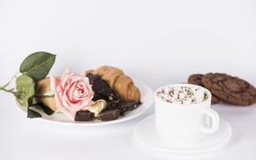 Picture rose, Love, cookies, candy, Coffee, hot chocolate, Valentine