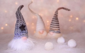 Picture winter, balls, snow, holiday, balls, toys, star, doll, lights, Christmas, dwarves, New year, garland, Santa …