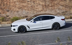 Picture white, coupe, BMW, side, Gran Coupe, 840i, 8-Series, 2019, the four-door coupe, Eight, G16
