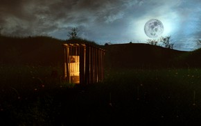 Picture Nature, Night, The moon, The barn, Meadow, Landscape, Night landscape