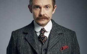 Picture mustache, look, grey background, coat, Martin Freeman, Sherlock, Sherlock BBC, Sherlock Holmes, John Watson, Ugly …