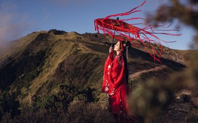 Picture look, girl, light, mountains, nature, face, pose, style, tape, the wind, hills, umbrella, hairstyle, beauty, …