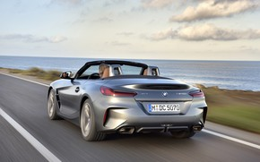Picture grey, coast, BMW, Roadster, BMW Z4, M40i, Z4, 2019, G29