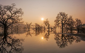 Picture the sun, lake, reflection, © JAY HUANG