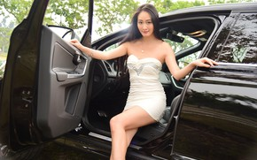 Picture look, Girls, Volvo, Asian, beautiful girl, black car, posing in the open door