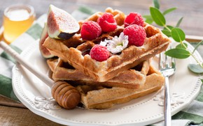 Picture raspberry, food, Breakfast, honey, waffles, figs