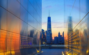 Picture USA, New Jersey, Jersey City, Empty Sky Memorial, вид на Манхэттен