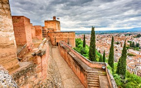 Picture the sky, clouds, trees, clouds, wall, tower, height, home, roof, fortress, Spain, Alhambra, Granada