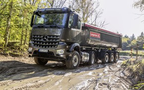 Picture Mercedes-Benz, dirt, tractor, dump truck, 4x2, Arocs, the trailer