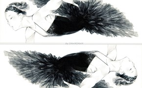 Picture reflection, black and white, dance, ballerina, pack, black dress, black Swan, closed eyes, Sawasawa, young …
