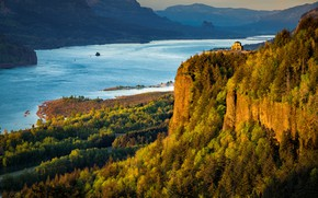 Picture landscape, sunset, mountains, nature, house, river, Oregon, USA, Museum, forest, Colombia, Vista House