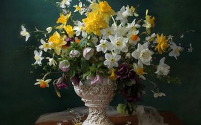Picture bouquet, vase, daffodils, hellebore