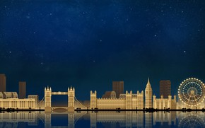 Wallpaper London, The sky, Minimalism, Night, The city, Art, London, Digital, Illustration, Game Art, by Caio ...