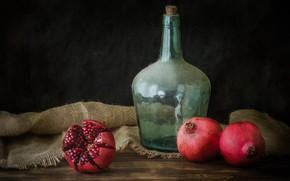Picture bottle, pomegranate, fruit