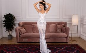 Picture flower, girl, pose, sofa, carpet, figure, dress, floor lamp, Cyril Zakirov, Leila Kurbanova