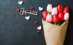 Picture love, hearts, bouquet, tulips