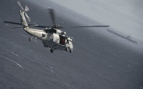 Picture Sea, Wave, Helicopter, The carrier, US NAVY, MH-60S Knight Hawk