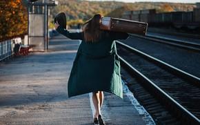 Picture girl, rails, suitcase, Ilya Baranov, Arina Seregina