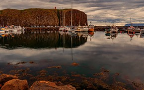 Picture autumn, the sky, water, clouds, machine, reflection, stones, overcast, rocks, shore, boat, boats, boat, Parking, …
