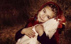 Picture face, smile, bird, hay, girl, shawl, child, cock, Marina Petro