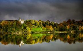 Picture photo, Nature, Autumn, Forest, Bay, Norway, Bergen, Gamlehaugen