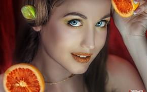 Wallpaper lime, sponge, orange, Daria Bliznakova, Alexander Drobkov-Light, makeup, citrus, face, lipstick, blue eyes, portrait, look, ...