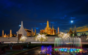 Picture temples, Bangkok, Thailand, the city, night, fountain