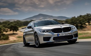 Picture grey, speed, track, BMW, sedan, 4x4, 2018, four-door, M5, V8, F90, M5 Competition