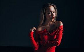Picture girl, face, pose, background, portrait, makeup, shoulders, Gregory Levin, Nick Wakaluk