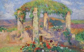 Picture landscape, flowers, picture, Henri-Jean Guillaume Martin, Henri Matrin, Gazebo. The Beginning Of Autumn