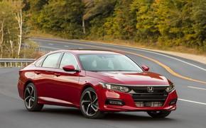Picture red, Parking, Honda, Accord, sedan, 2018, four-door, 2.0T Sport