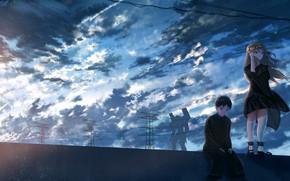 Picture the sky, girl, guy, neon genesis evangelion, Asuka Langley Sohryu, shinji ikari