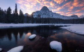 Picture winter, forest, the sky, snow, sunset, mountains, river